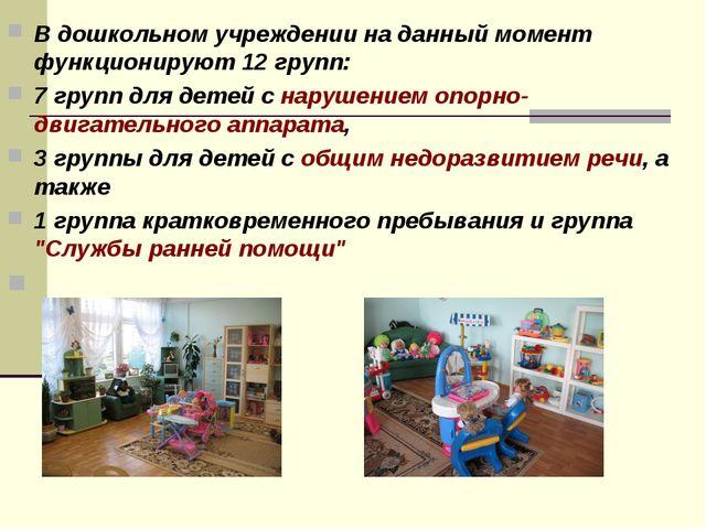 В дошкольном учреждении на данный момент функционируют12 групп: 7 групп для...