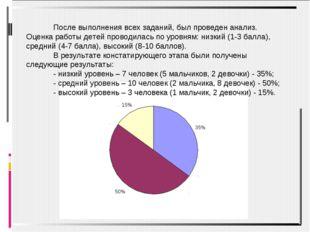 После выполнения всех заданий, был проведен анализ. Оценка работы детей прово