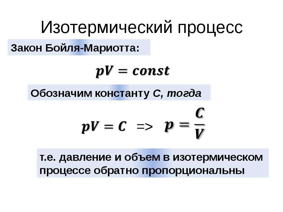 Изотермический процесс Закон Бойля-Мариотта: Обозначим константу С, тогда =>...