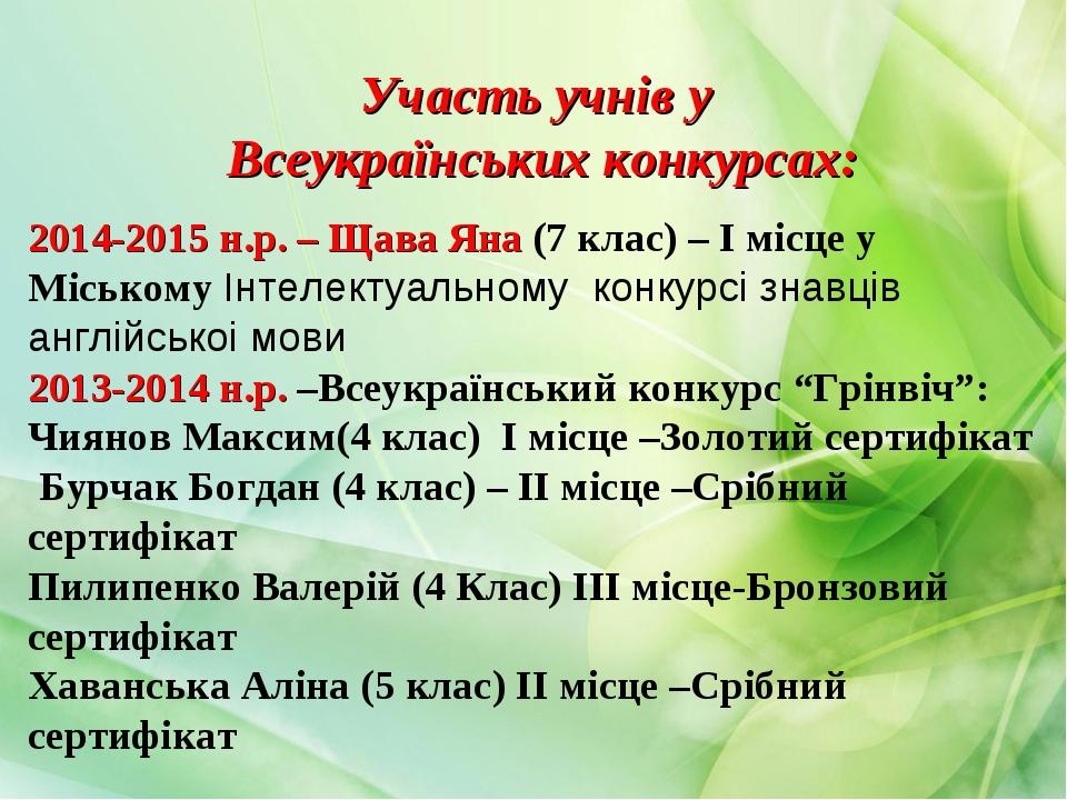 Участь учнів у Всеукраїнських конкурсах: 2014-2015 н.р. – Щава Яна (7 клас) –...