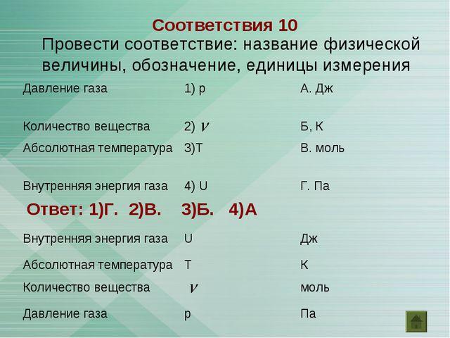 Провести соответствие: название физической величины, обозначение, единицы изм...
