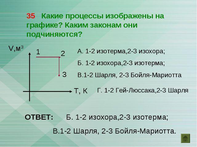 35 Какие процессы изображены на графике? Каким законам они подчиняются? V,м3...