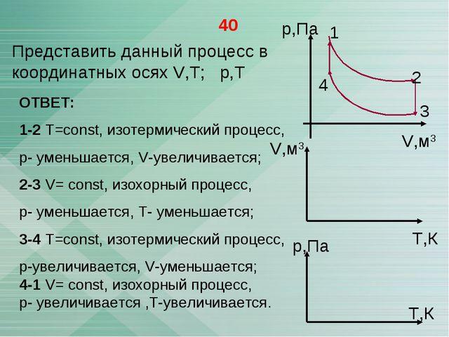 40 Представить данный процесс в координатных осях V,T; р,Т р,Па V,м3 1 2 3 4...
