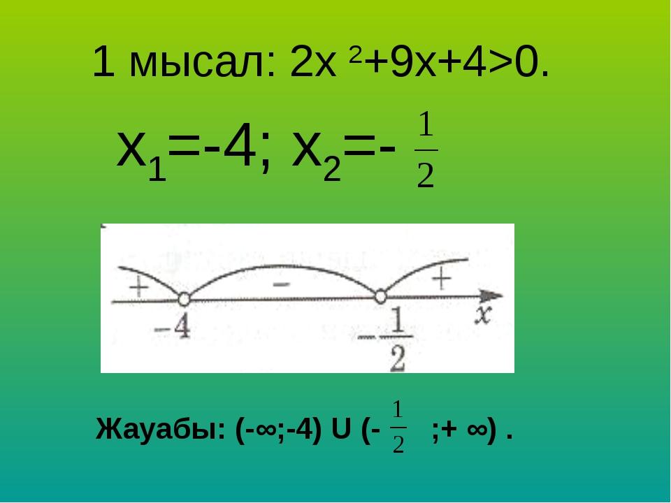1 мысал: 2х 2+9х+4>0. х1=-4; х2=-