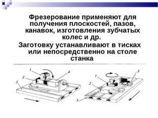 Фрезерование применяют для получения плоскостей, пазов, канавок, изготовлени