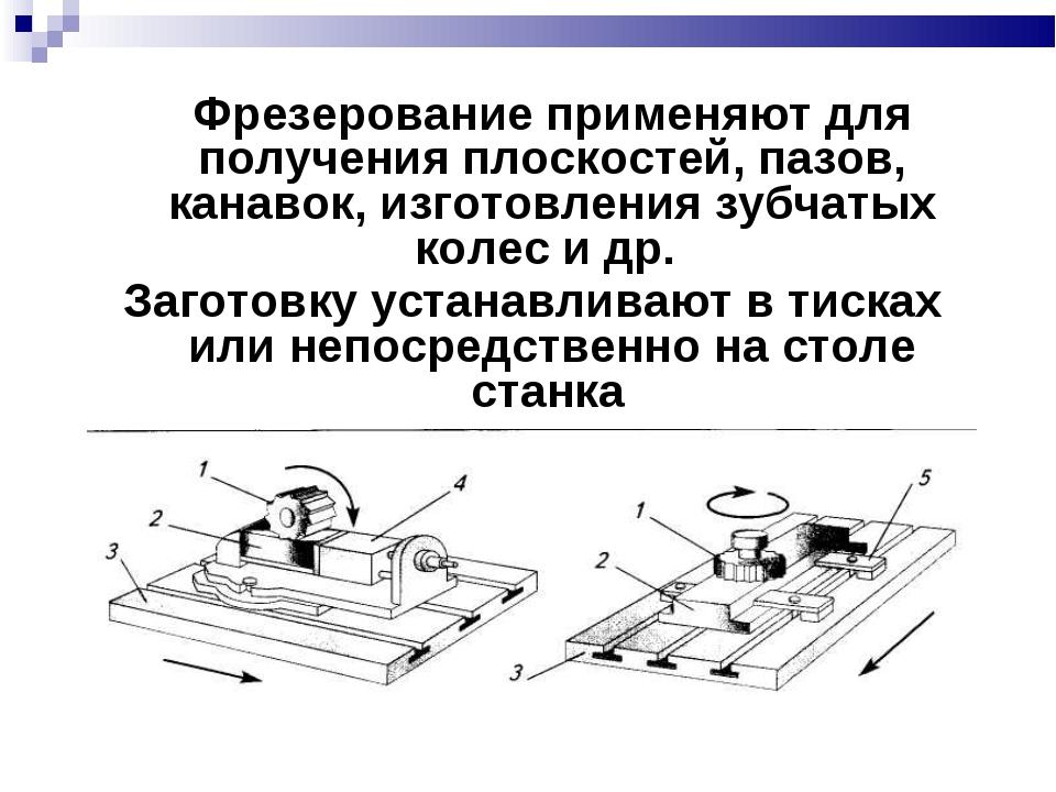 Фрезерование применяют для получения плоскостей, пазов, канавок, изготовлени...