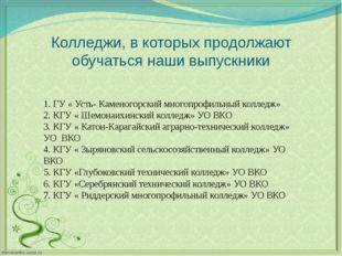 Колледжи, в которых продолжают обучаться наши выпускники 1. ГУ « Усть- Камено