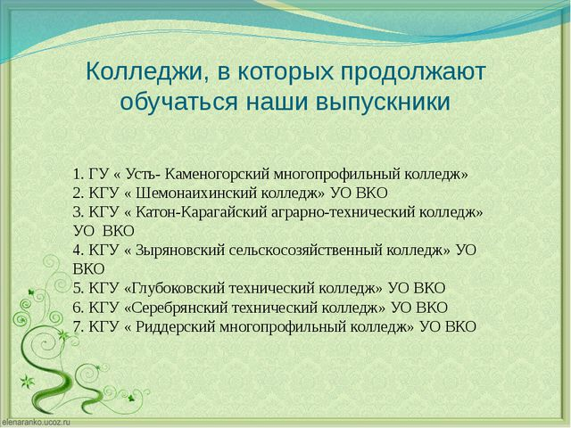Колледжи, в которых продолжают обучаться наши выпускники 1. ГУ « Усть- Камено...