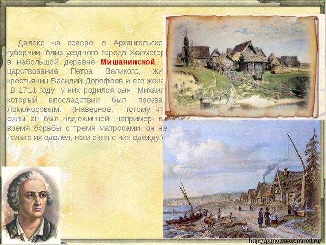 Далеко на севере, в Архангельской губернии, близ уездного города Холмогор,...