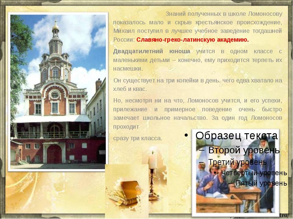 Знаний полученных в школе Ломоносову показалось мало и скрыв крестьянское пр...