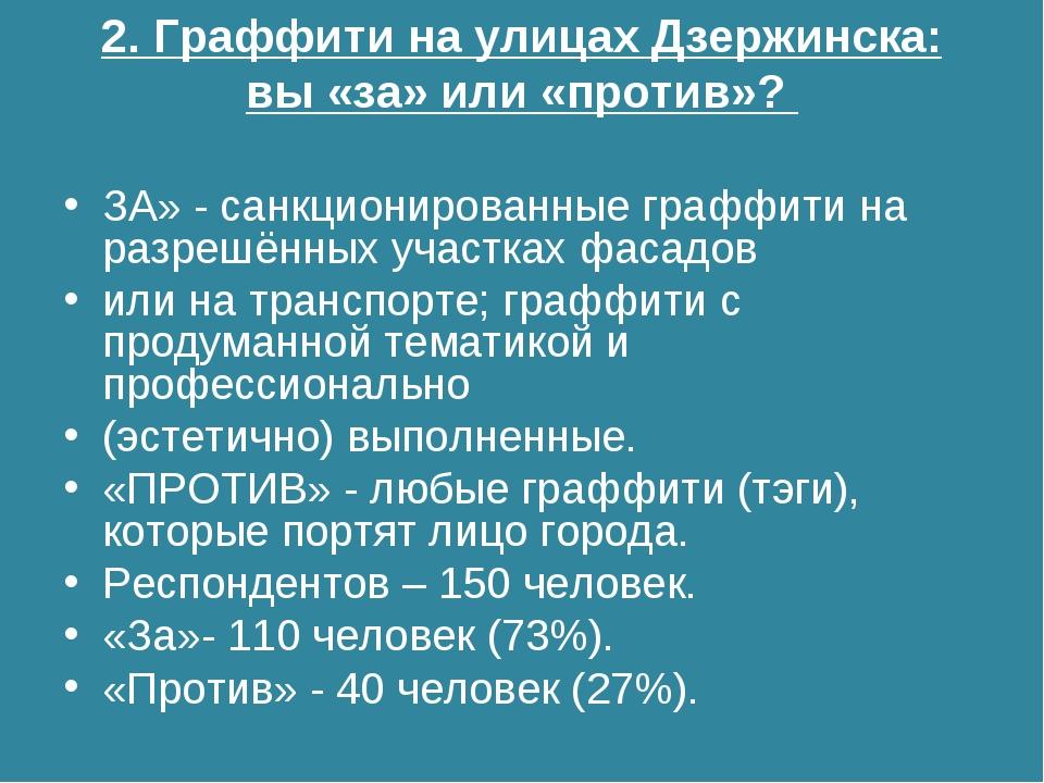 2. Граффити на улицах Дзержинска: вы «за» или «против»? ЗА» - санкционированн...