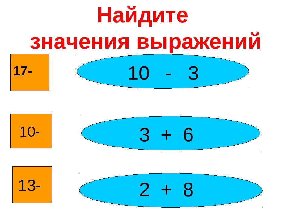 Найдите значения выражений 17- 10- 13- 10 - 3 3 + 6 2 + 8