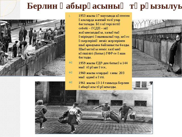 Берлин қабырғасының тұрғызылуы 1953 жылы 17 маусымда көптеген қалаларда жаппа...