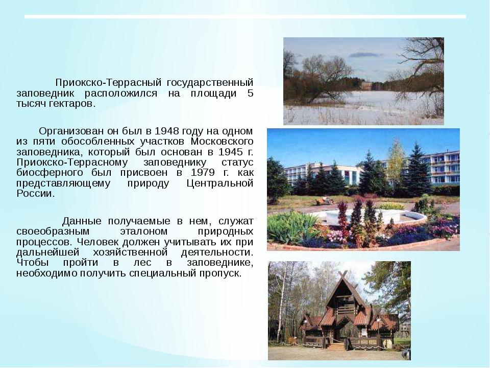 Приокско-Террасный государственный заповедник расположился на площади 5 тыся...