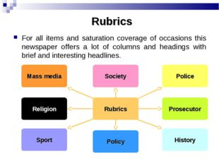 Rubrics For all items and saturation coverage of occasions this newspaper off
