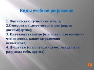 Виды учебной рефлексии 1. Физическую (успел - не успел); 2.Сенсорную (самочув