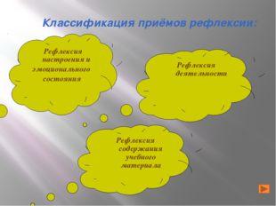 Классификация приёмов рефлексии: Рефлексия содержания учебного материала Рефл