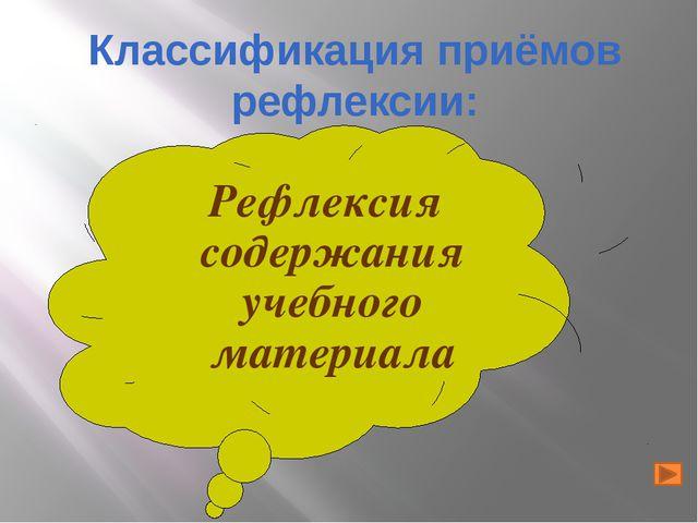 Рефлексия содержания учебного материала Классификация приёмов рефлексии: