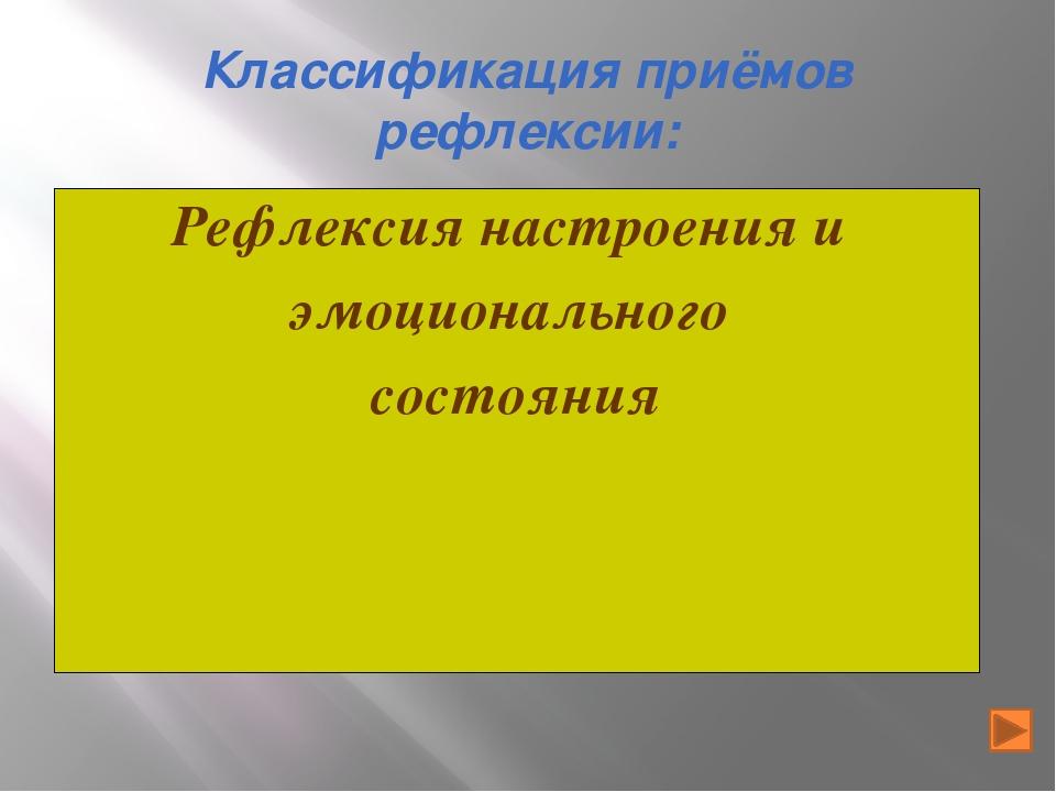 Классификация приёмов рефлексии: Рефлексия настроения и эмоционального состоя...