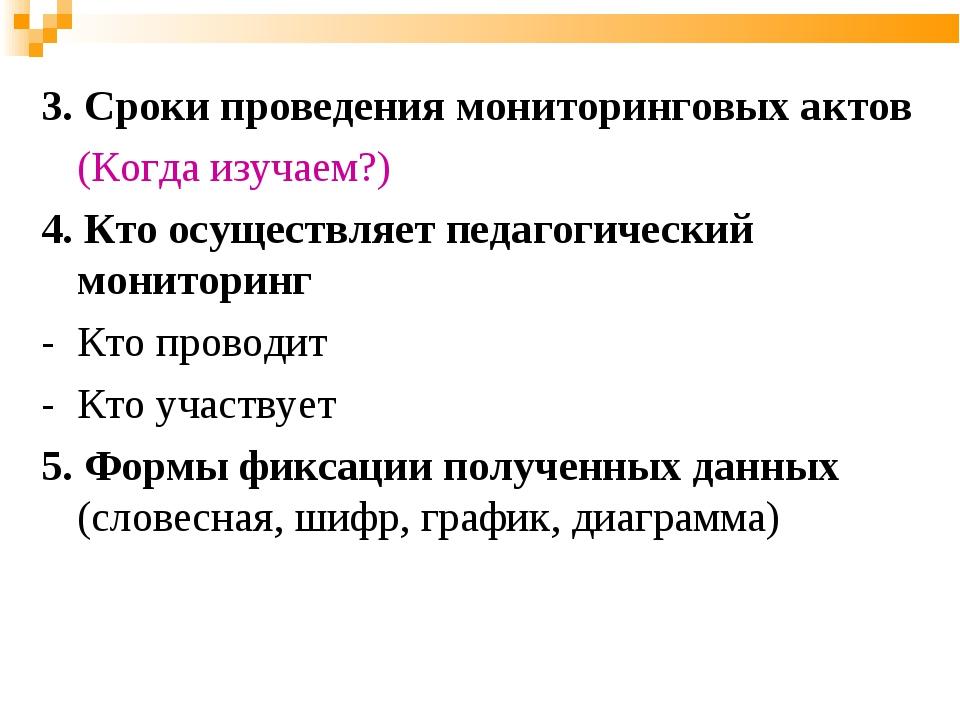 3. Сроки проведения мониторинговых актов (Когда изучаем?) 4. Кто осуществляе...