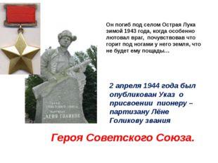 Он погиб под селом Острая Лука зимой 1943 года, когда особенно лютовал враг,