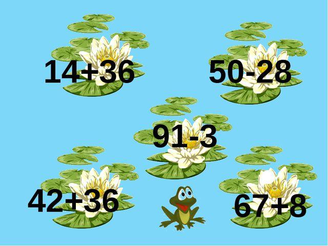 14+36 50-28 67+8 91-3 42+36