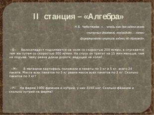 II станция – «Алгебра» Н.Б. Чеботарёв: «… чтобы каждая задача могла считатьс