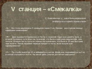 V станция – «Смекалка» С. Ковалевская: «… нельзя быть математиком, не будучи