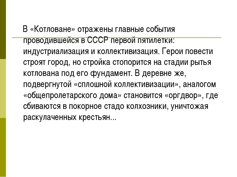 В «Котловане» отражены главные события проводившейся в СССР первой пятилетки...