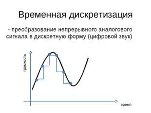 Временная дискретизация - преобразование непрерывного аналогового сигнала в д