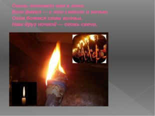 Огонь поможет нам в ночи. Вот факел — с ним светло и ночью. Огня боятся стаи