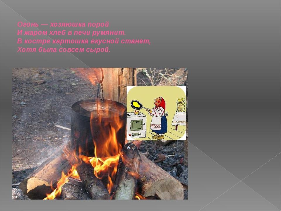 Огонь — хозяюшка порой И жаром хлеб в печи румянит. В костре картошка вкусной...
