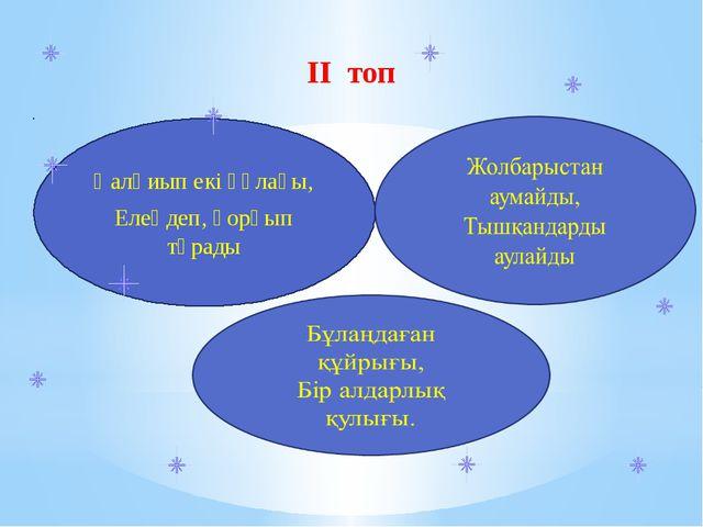 ІІ топ Қалқиып екі құлағы, Елеңдеп, қорқып тұрады