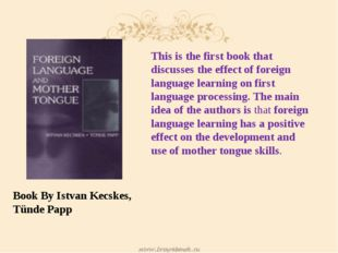 Book By Istvan Kecskes, Tünde Papp This is the first book that discusses the