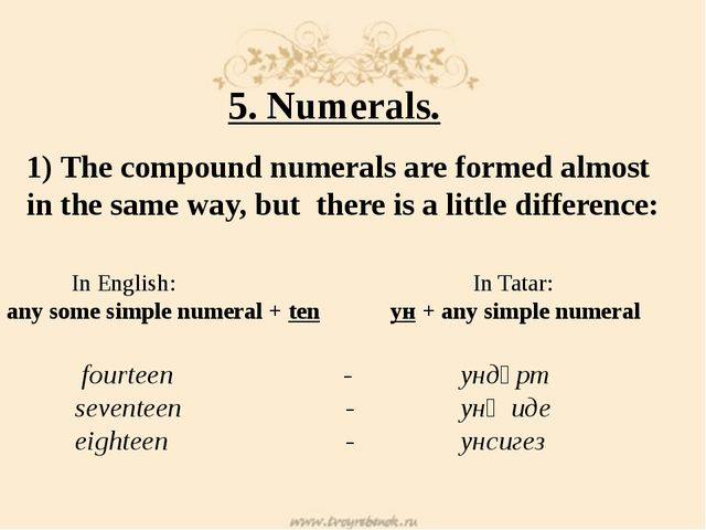 5. Numerals. 1) The cоmpound numerals are formed almost in the same way, but...