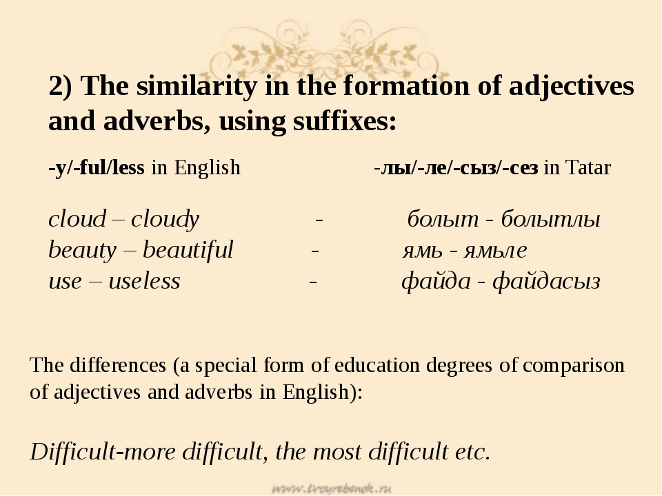 2) The similarity in the formation of adjectives and adverbs, using suffixes:...