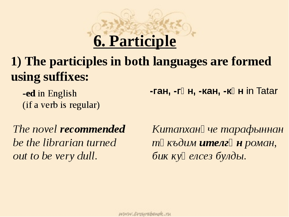 6. Participle 1) The participles in both languages are formed using suffixes:...