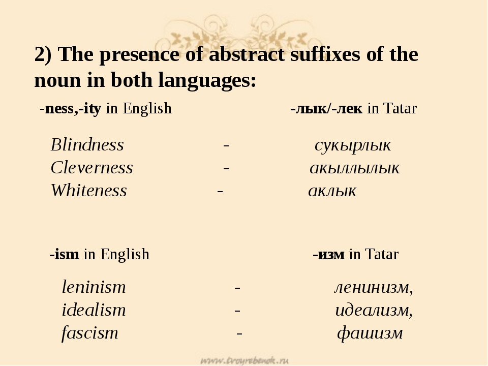 2) The presence of abstract suffixes of the noun in both languages: -ness,-it...