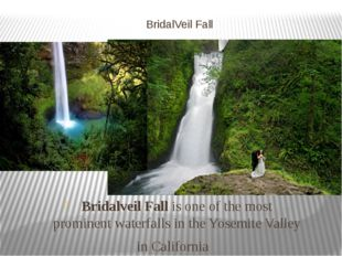 BridalVeil Fall Bridalveil Fall is one of the most prominent waterfalls in th