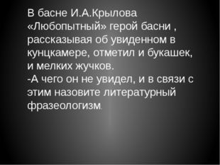 В басне И.А.Крылова «Любопытный» герой басни , рассказывая об увиденном в кун