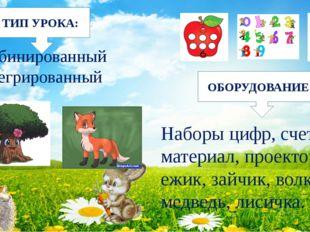 Наборы цифр, счетный материал, проектор, ежик, зайчик, волк, медведь, лисичк