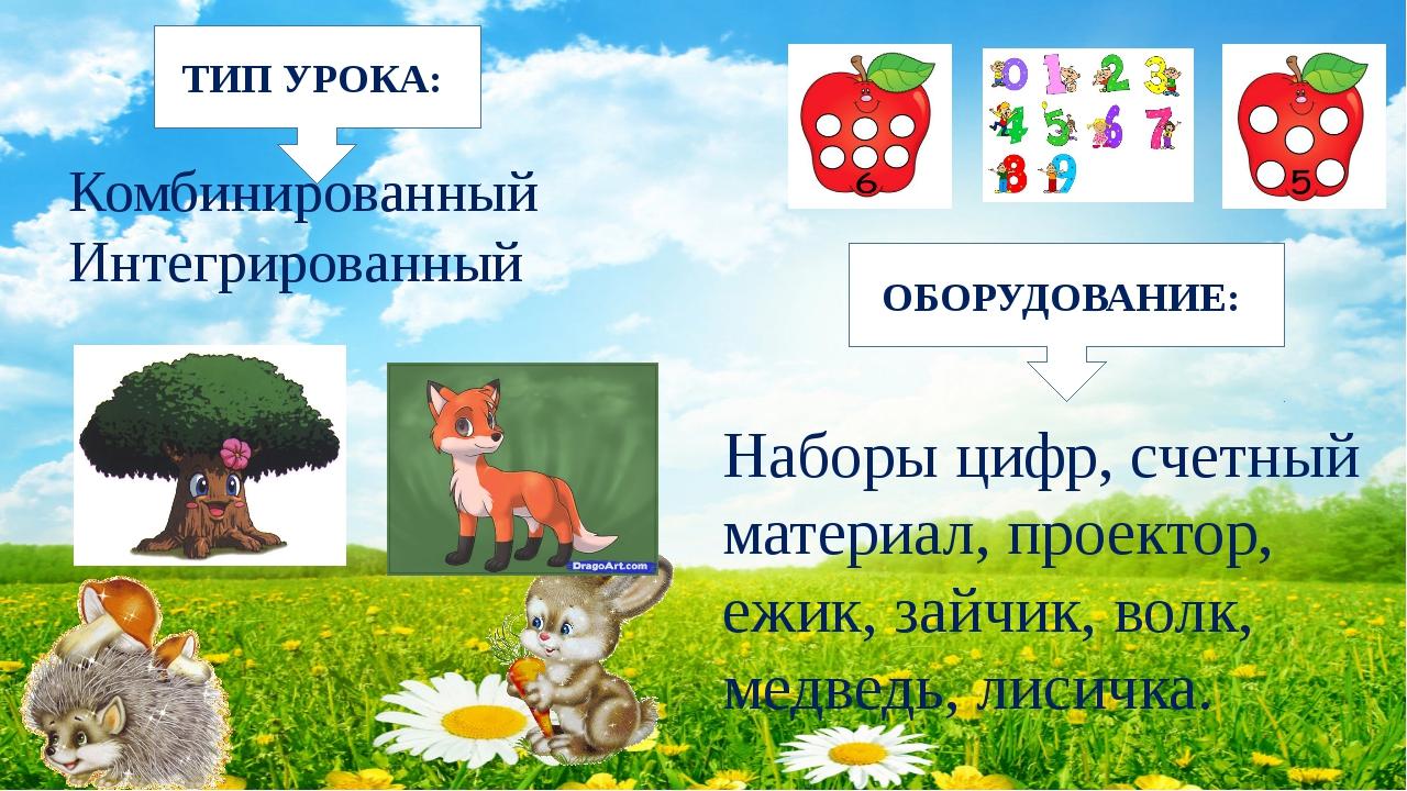 Наборы цифр, счетный материал, проектор, ежик, зайчик, волк, медведь, лисичк...