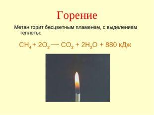 Горение Метан горит бесцветным пламенем, с выделением теплоты: