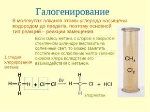 Галогенирование В молекулах алканов атомы углерода насыщены водородом до пред