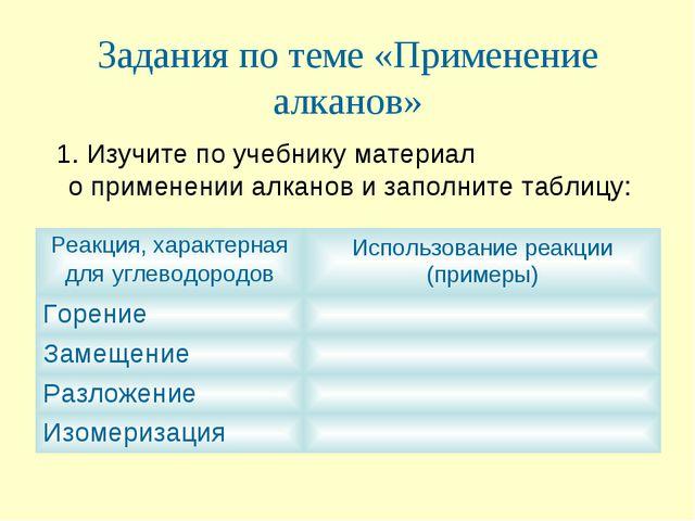 Задания по теме «Применение алканов» 1. Изучите по учебнику материал о примен...