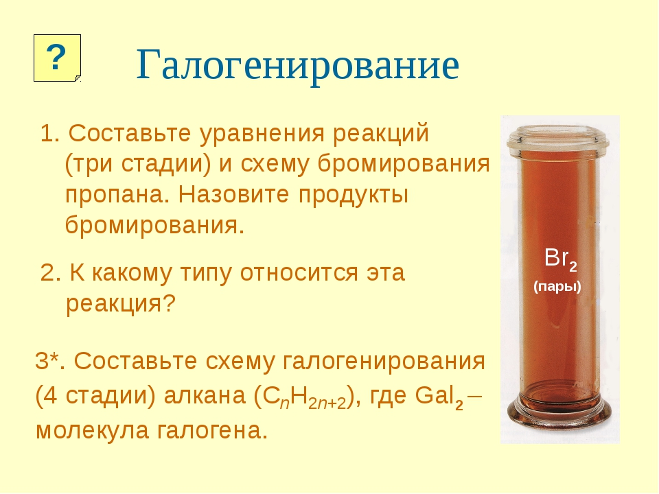 Галогенирование 1. Составьте уравнения реакций (три стадии) и схему бромирова...