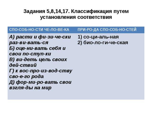 Задания 5,8,14,17. Классификация путем установления соответствия СПОСОБНОС...