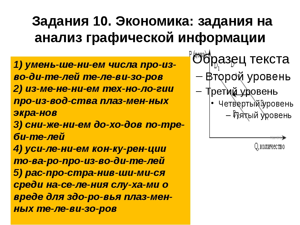 Задания 10. Экономика: задания на анализ графической информации 1) уменьше...