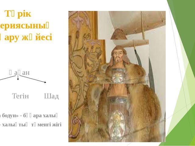 Түрік империясының басқару жүйесі Қаған Ябғу Тегін Шад «Қара бодун» - бұқара...