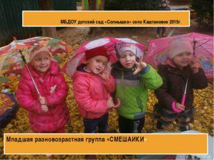 МБДОУ детский сад «Солнышко» село Каштановое 2015г. Младшая разновозрастна